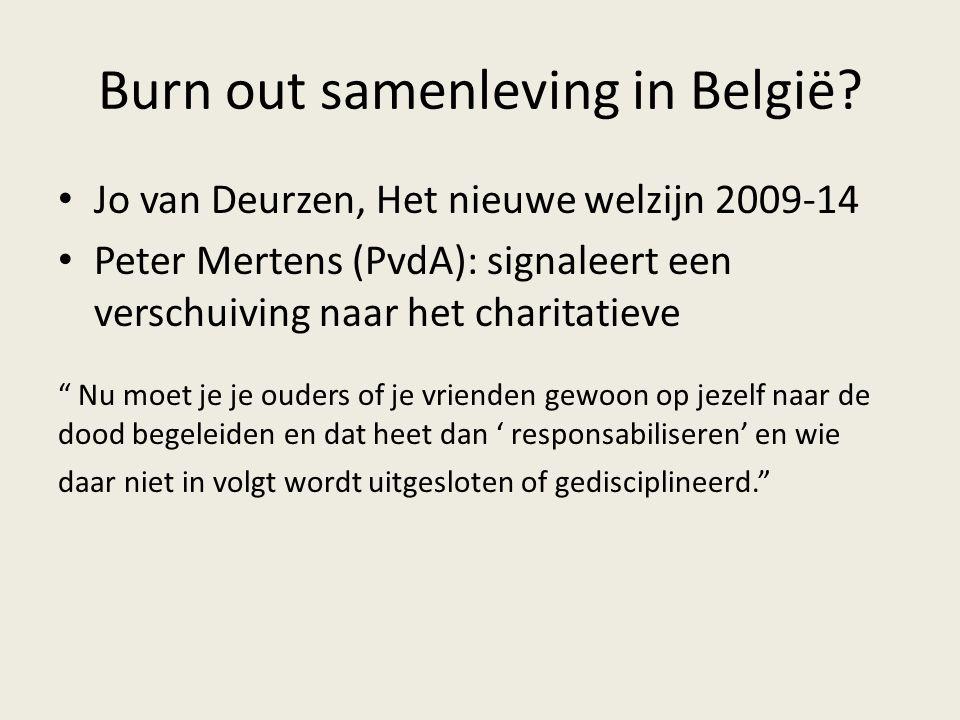 """Burn out samenleving in België? Jo van Deurzen, Het nieuwe welzijn 2009-14 Peter Mertens (PvdA): signaleert een verschuiving naar het charitatieve """" N"""
