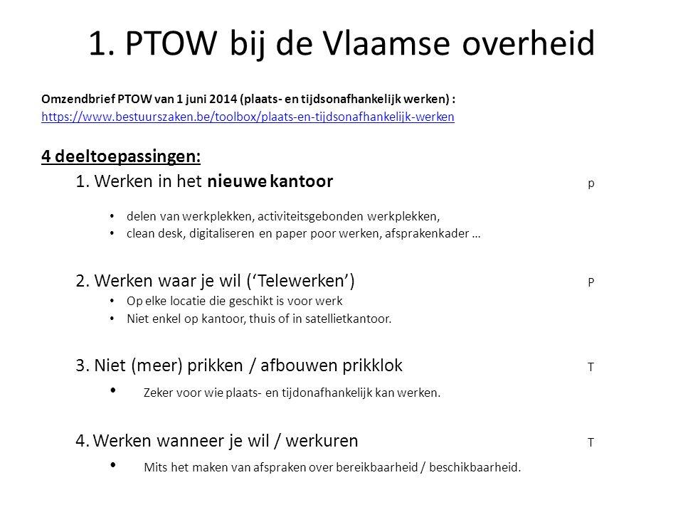1. PTOW bij de Vlaamse overheid Omzendbrief PTOW van 1 juni 2014 (plaats- en tijdsonafhankelijk werken) : https://www.bestuurszaken.be/toolbox/plaats-