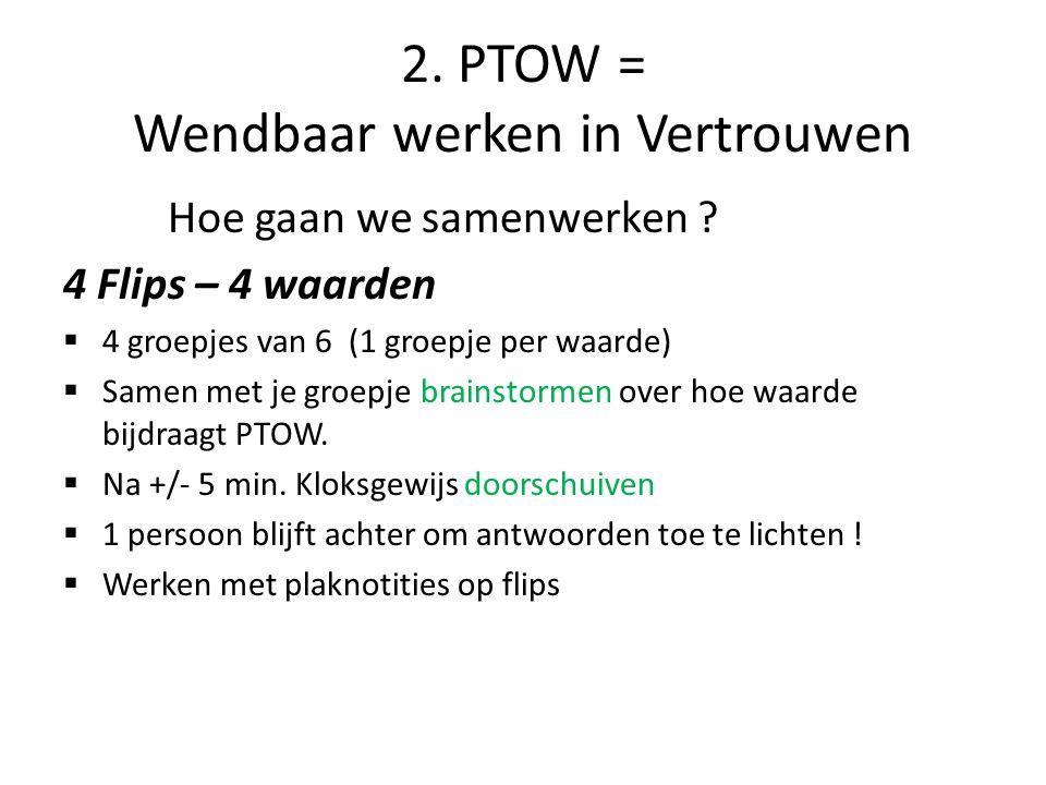 2.PTOW = Wendbaar werken in Vertrouwen Terugkoppeling per waarde Hoe.