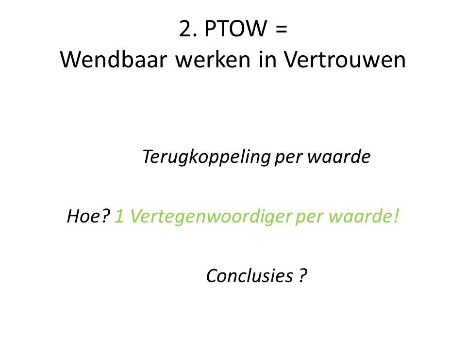 2. PTOW = Wendbaar werken in Vertrouwen Terugkoppeling per waarde Hoe? 1 Vertegenwoordiger per waarde! Conclusies ?