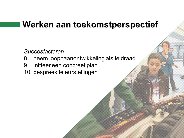 Werken aan toekomstperspectief Succesfactoren 8. neem loopbaanontwikkeling als leidraad 9.