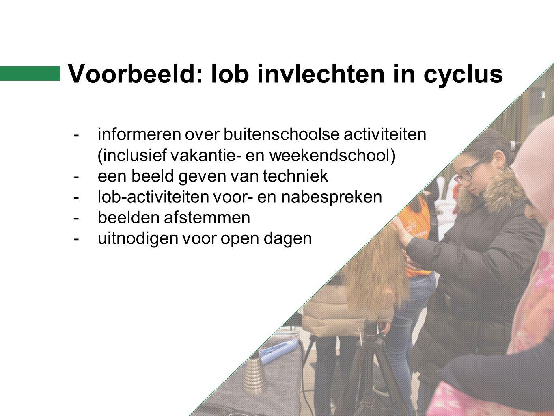 Voorbeeld: lob invlechten in cyclus -informeren over buitenschoolse activiteiten (inclusief vakantie- en weekendschool) -een beeld geven van techniek -lob-activiteiten voor- en nabespreken -beelden afstemmen -uitnodigen voor open dagen
