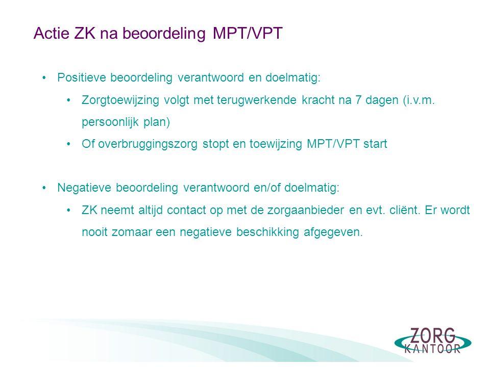 Actie ZK na beoordeling MPT/VPT Positieve beoordeling verantwoord en doelmatig: Zorgtoewijzing volgt met terugwerkende kracht na 7 dagen (i.v.m.