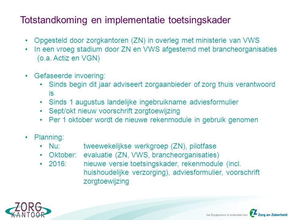 Totstandkoming en implementatie toetsingskader Opgesteld door zorgkantoren (ZN) in overleg met ministerie van VWS In een vroeg stadium door ZN en VWS afgestemd met brancheorganisaties (o.a.