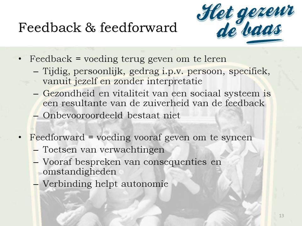 Feedback & feedforward 13 Feedback = voeding terug geven om te leren – Tijdig, persoonlijk, gedrag i.p.v. persoon, specifiek, vanuit jezelf en zonder