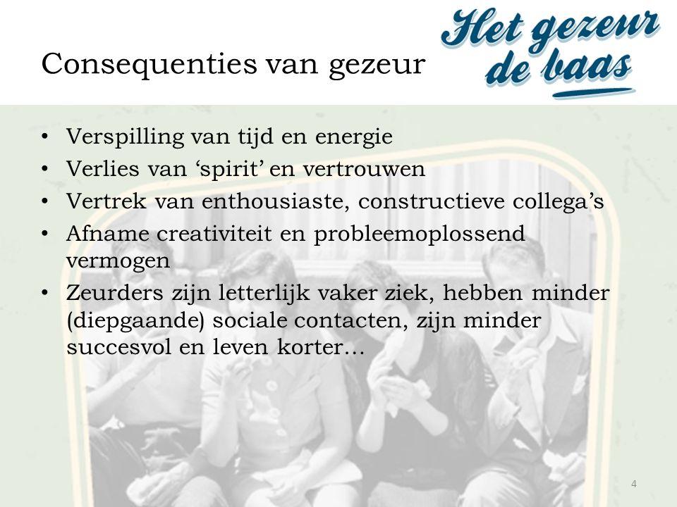 Consequenties van gezeur Verspilling van tijd en energie Verlies van 'spirit' en vertrouwen Vertrek van enthousiaste, constructieve collega's Afname c