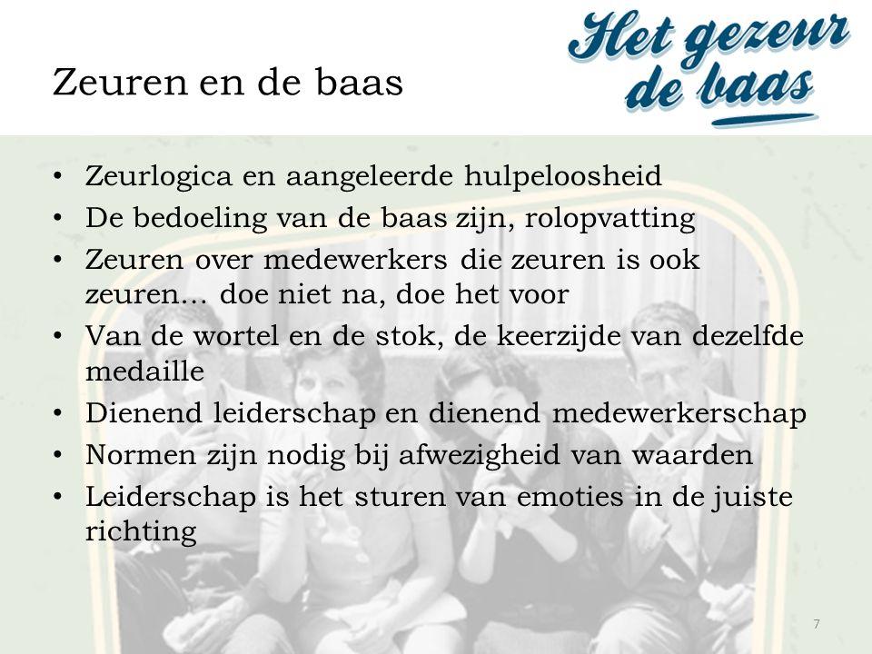 Zeuren en de baas 7 Zeurlogica en aangeleerde hulpeloosheid De bedoeling van de baas zijn, rolopvatting Zeuren over medewerkers die zeuren is ook zeur