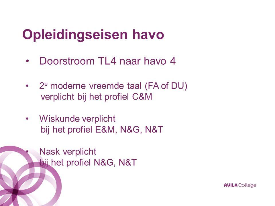 Opleidingseisen havo Doorstroom TL4 naar havo 4 2 e moderne vreemde taal (FA of DU) verplicht bij het profiel C&M Wiskunde verplicht bij het profiel E&M, N&G, N&T Nask verplicht bij het profiel N&G, N&T