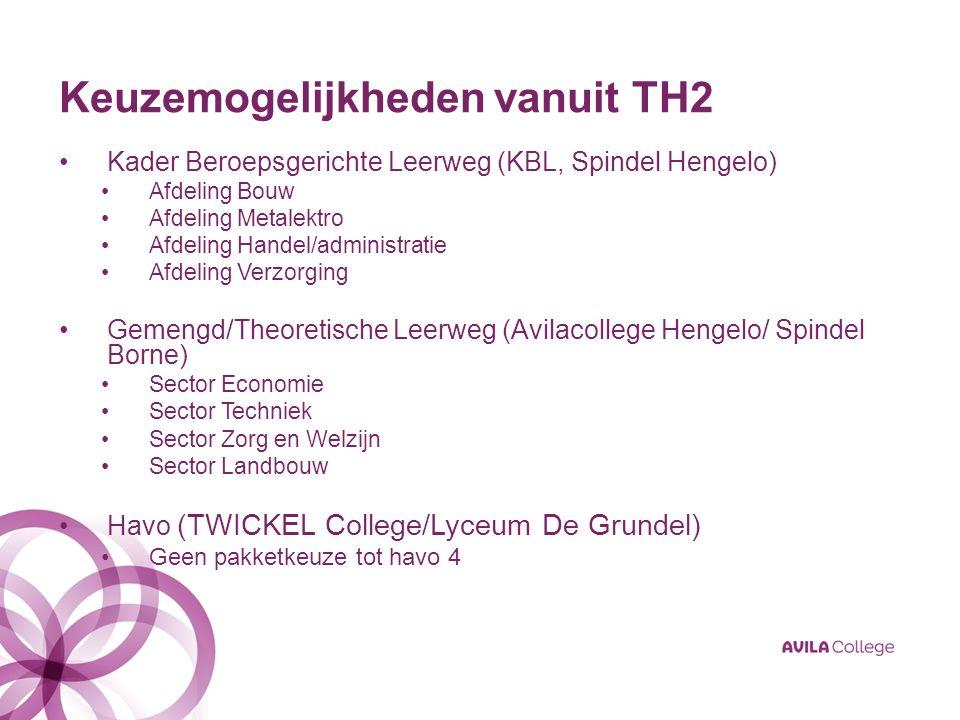 Keuzemogelijkheden vanuit TH2 Kader Beroepsgerichte Leerweg (KBL, Spindel Hengelo) Afdeling Bouw Afdeling Metalektro Afdeling Handel/administratie Afd