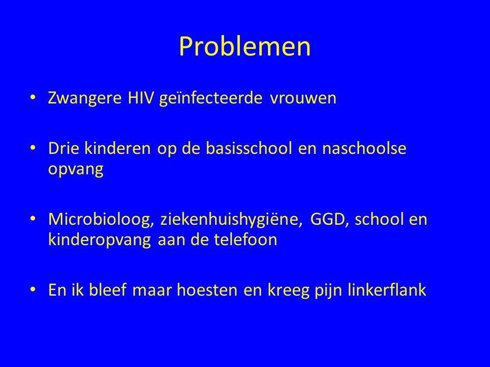 Problemen Zwangere HIV geïnfecteerde vrouwen Drie kinderen op de basisschool en naschoolse opvang Microbioloog, ziekenhuishygiëne, GGD, school en kind