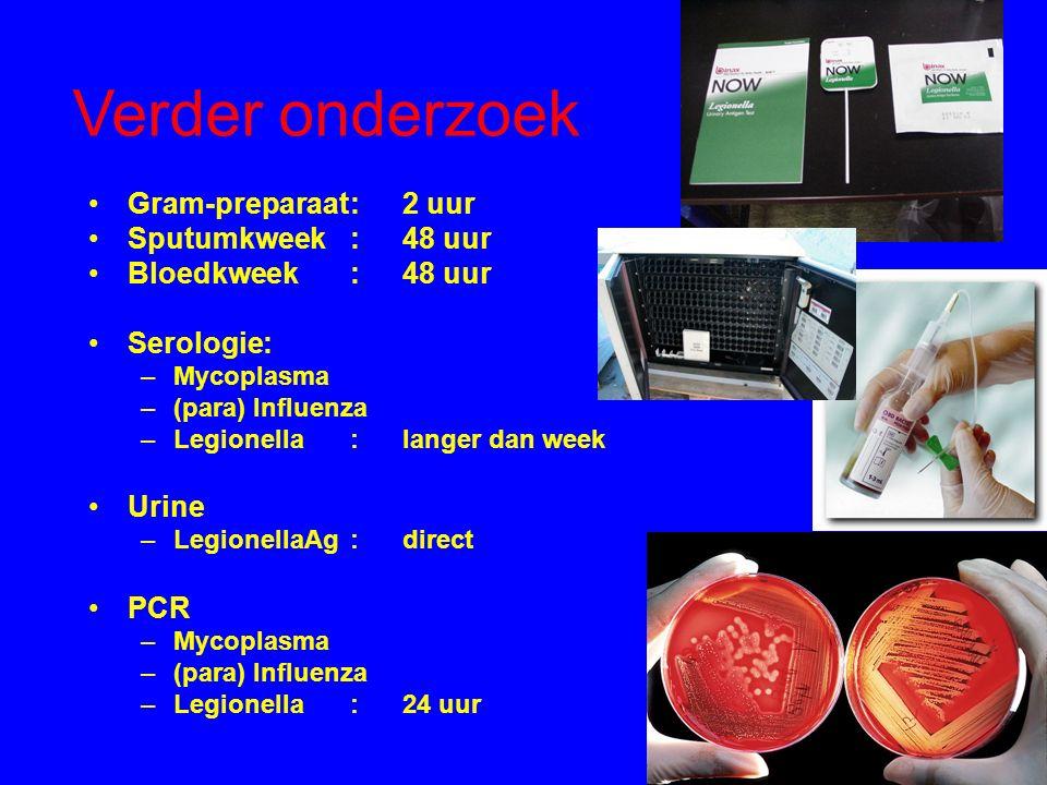Verder onderzoek Gram-preparaat:2 uur Sputumkweek:48 uur Bloedkweek:48 uur Serologie: –Mycoplasma –(para) Influenza –Legionella:langer dan week Urine –LegionellaAg:direct PCR –Mycoplasma –(para) Influenza –Legionella:24 uur