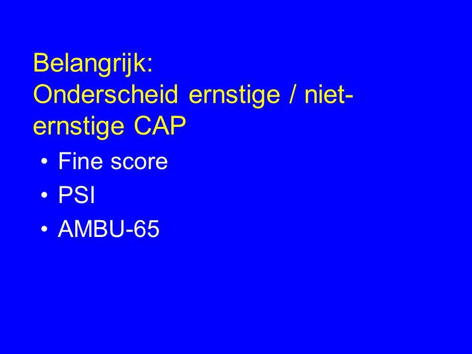 Belangrijk: Onderscheid ernstige / niet- ernstige CAP Fine score PSI AMBU-65