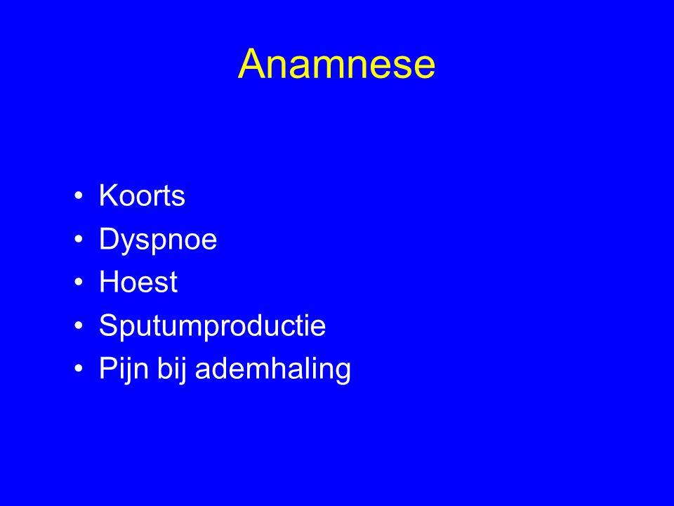 Anamnese Koorts Dyspnoe Hoest Sputumproductie Pijn bij ademhaling