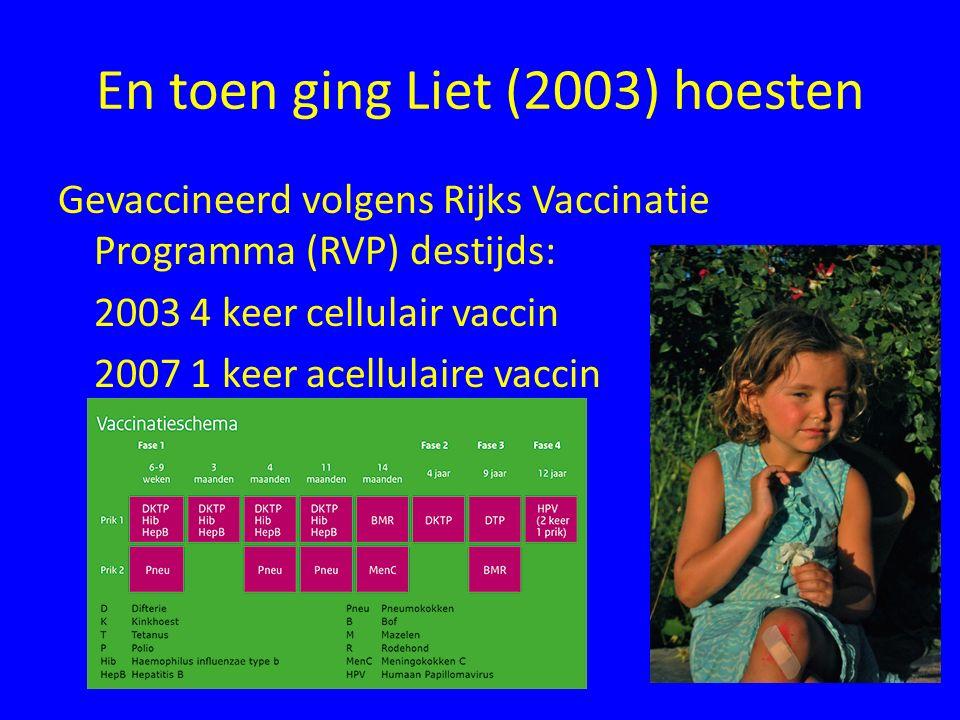 En toen ging Liet (2003) hoesten Gevaccineerd volgens Rijks Vaccinatie Programma (RVP) destijds: 2003 4 keer cellulair vaccin 2007 1 keer acellulaire vaccin