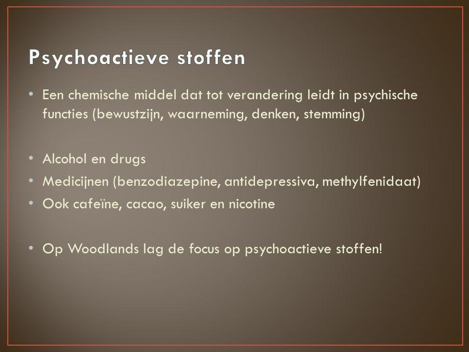 Een chemische middel dat tot verandering leidt in psychische functies (bewustzijn, waarneming, denken, stemming) Alcohol en drugs Medicijnen (benzodiazepine, antidepressiva, methylfenidaat) Ook cafeïne, cacao, suiker en nicotine Op Woodlands lag de focus op psychoactieve stoffen!