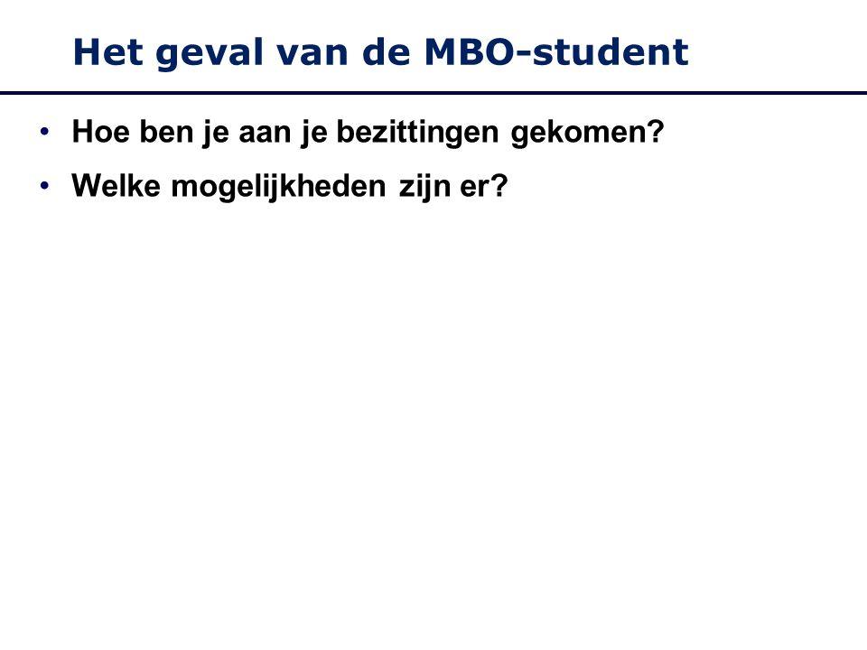 Het geval van de MBO-student Hoe ben je aan je bezittingen gekomen Welke mogelijkheden zijn er