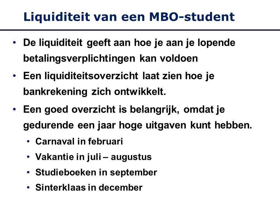 Liquiditeit van een MBO-student De liquiditeit geeft aan hoe je aan je lopende betalingsverplichtingen kan voldoen Een liquiditeitsoverzicht laat zien hoe je bankrekening zich ontwikkelt.