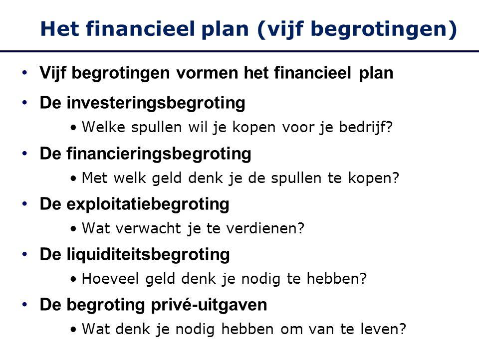Het financieel plan (vijf begrotingen) Vijf begrotingen vormen het financieel plan De investeringsbegroting Welke spullen wil je kopen voor je bedrijf.
