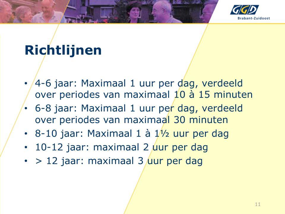 Richtlijnen 4-6 jaar: Maximaal 1 uur per dag, verdeeld over periodes van maximaal 10 à 15 minuten 6-8 jaar: Maximaal 1 uur per dag, verdeeld over periodes van maximaal 30 minuten 8-10 jaar: Maximaal 1 à 1½ uur per dag 10-12 jaar: maximaal 2 uur per dag > 12 jaar: maximaal 3 uur per dag 11