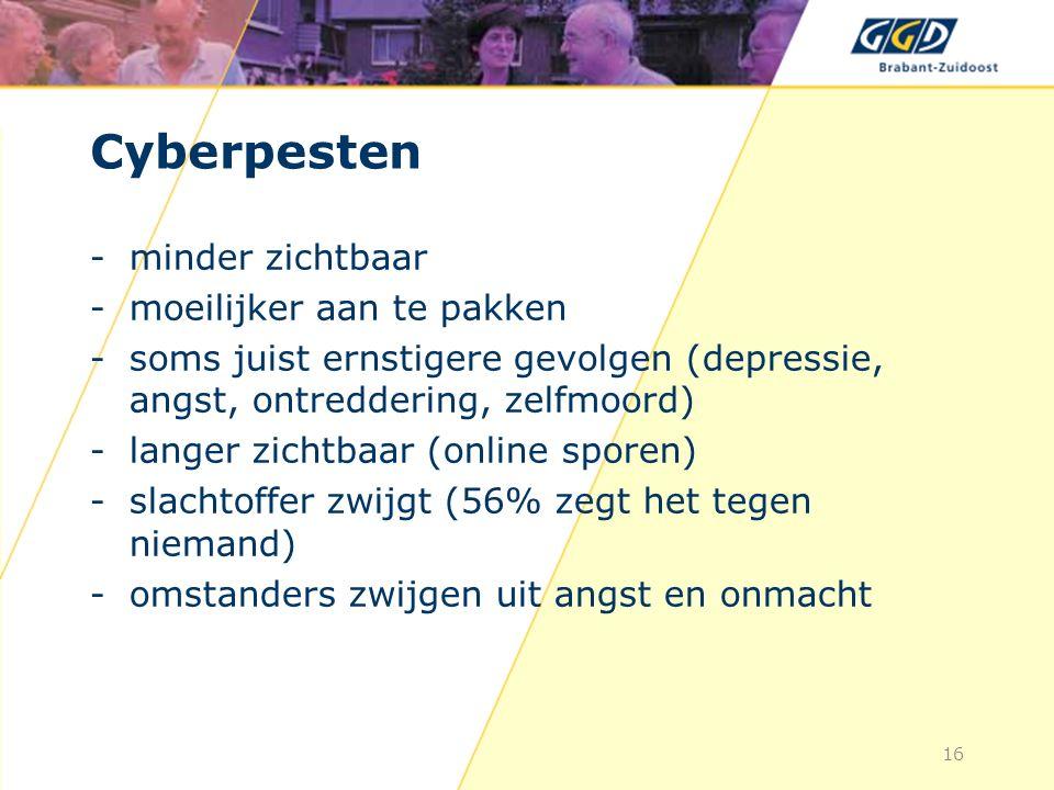 Cyberpesten -minder zichtbaar -moeilijker aan te pakken -soms juist ernstigere gevolgen (depressie, angst, ontreddering, zelfmoord) -langer zichtbaar (online sporen) -slachtoffer zwijgt (56% zegt het tegen niemand) -omstanders zwijgen uit angst en onmacht 16