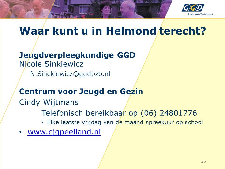 Waar kunt u in Helmond terecht.