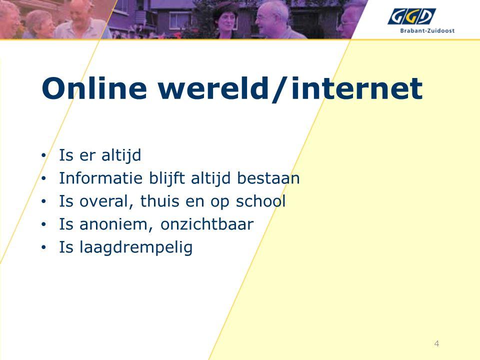 Online wereld/internet Is er altijd Informatie blijft altijd bestaan Is overal, thuis en op school Is anoniem, onzichtbaar Is laagdrempelig 4