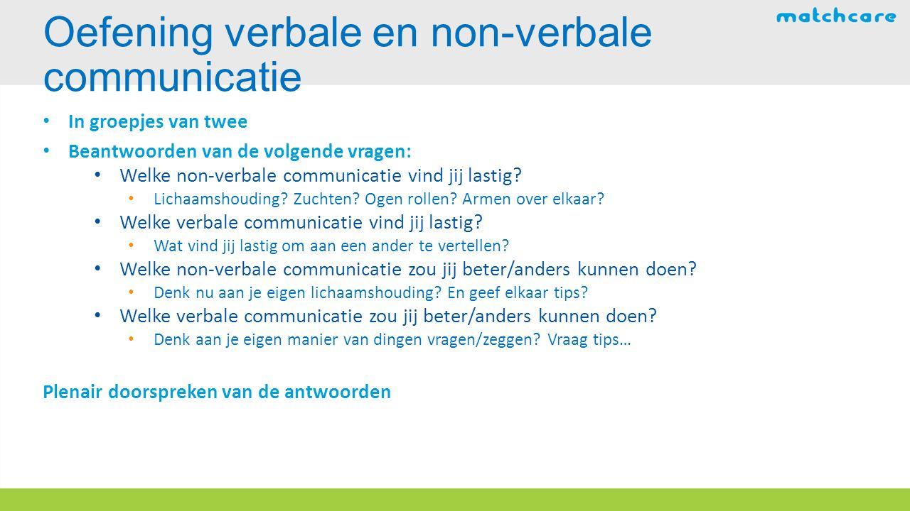 In groepjes van twee Beantwoorden van de volgende vragen: Welke non-verbale communicatie vind jij lastig.