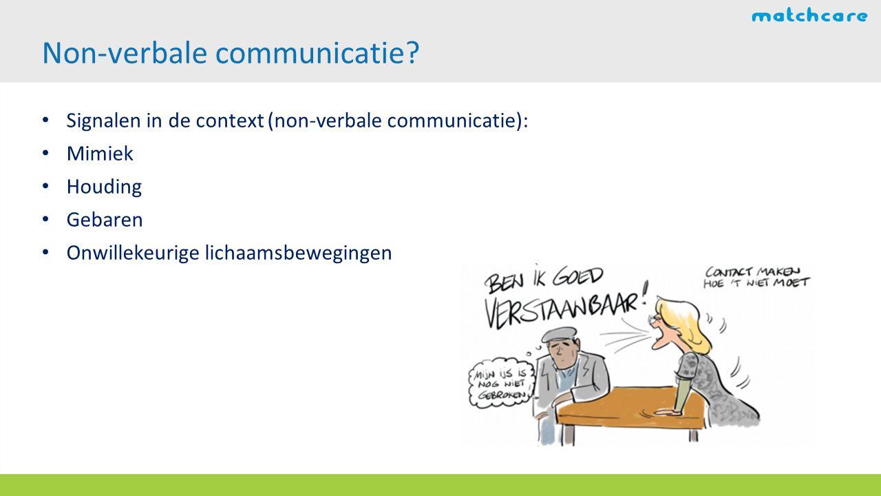 Signalen in de context (non-verbale communicatie): Mimiek Houding Gebaren Onwillekeurige lichaamsbewegingen Non-verbale communicatie?