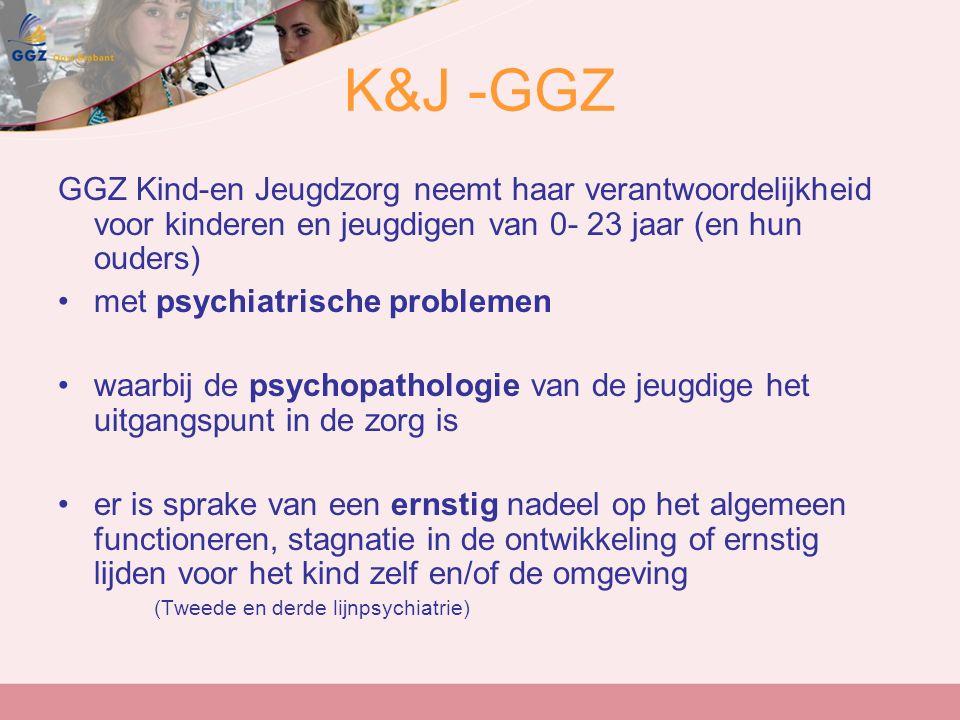 K&J -GGZ GGZ Kind-en Jeugdzorg neemt haar verantwoordelijkheid voor kinderen en jeugdigen van 0- 23 jaar (en hun ouders) met psychiatrische problemen waarbij de psychopathologie van de jeugdige het uitgangspunt in de zorg is er is sprake van een ernstig nadeel op het algemeen functioneren, stagnatie in de ontwikkeling of ernstig lijden voor het kind zelf en/of de omgeving (Tweede en derde lijnpsychiatrie)