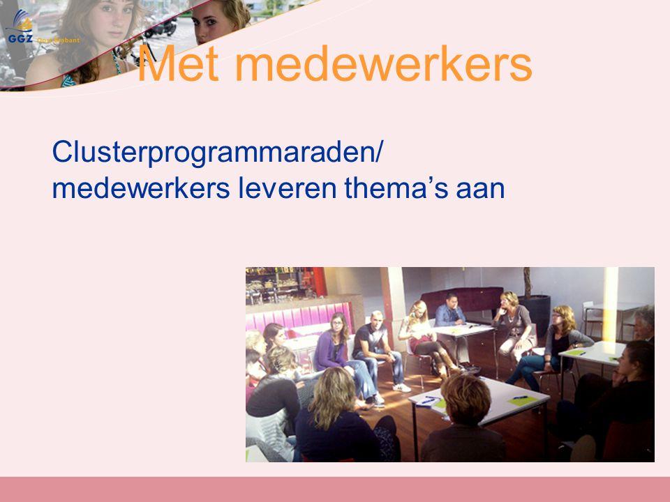 Met medewerkers Clusterprogrammaraden/ medewerkers leveren thema's aan