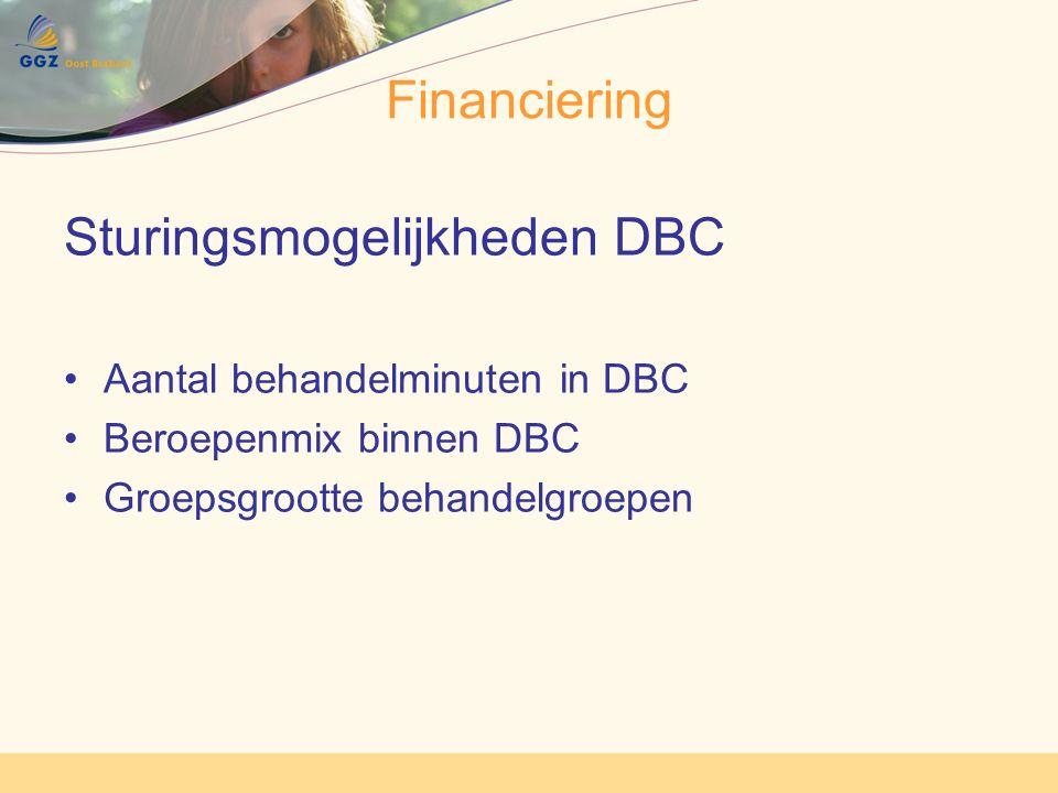 Financiering Sturingsmogelijkheden DBC Aantal behandelminuten in DBC Beroepenmix binnen DBC Groepsgrootte behandelgroepen