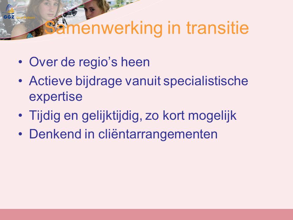 Samenwerking in transitie Over de regio's heen Actieve bijdrage vanuit specialistische expertise Tijdig en gelijktijdig, zo kort mogelijk Denkend in cliëntarrangementen