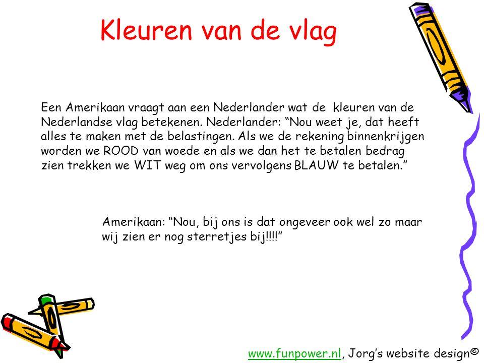 Kleuren van de vlag Een Amerikaan vraagt aan een Nederlander wat de kleuren van de Nederlandse vlag betekenen.