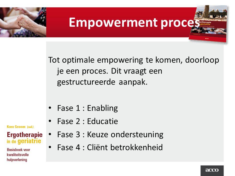 Empowerment proces Tot optimale empowering te komen, doorloop je een proces. Dit vraagt een gestructureerde aanpak. Fase 1 : Enabling Fase 2 : Educati