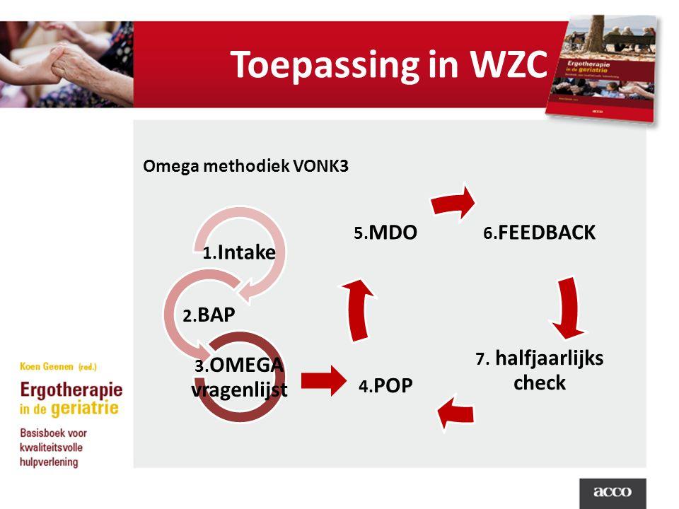 Toepassing in WZC Omega methodiek VONK3 1. Intake 2. BAP 3. OMEGA vragenlijst 6. FEEDBACK 7. halfjaarlijks check 4. POP 5. MDO