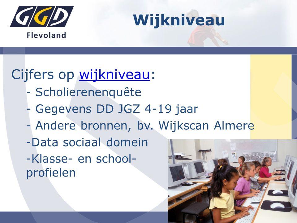 Cijfers op wijkniveau:wijkniveau - Scholierenenquête - Gegevens DD JGZ 4-19 jaar - Andere bronnen, bv. Wijkscan Almere -Data sociaal domein -Klasse- e