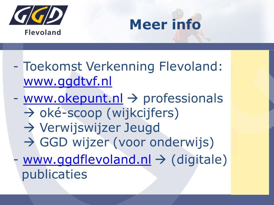 -Toekomst Verkenning Flevoland: www.ggdtvf.nl www.ggdtvf.nl -www.okepunt.nl  professionals  oké-scoop (wijkcijfers)  Verwijswijzer Jeugd  GGD wijzer (voor onderwijs)www.okepunt.nl - www.ggdflevoland.nl  (digitale) publicatieswww.ggdflevoland.nl Meer info