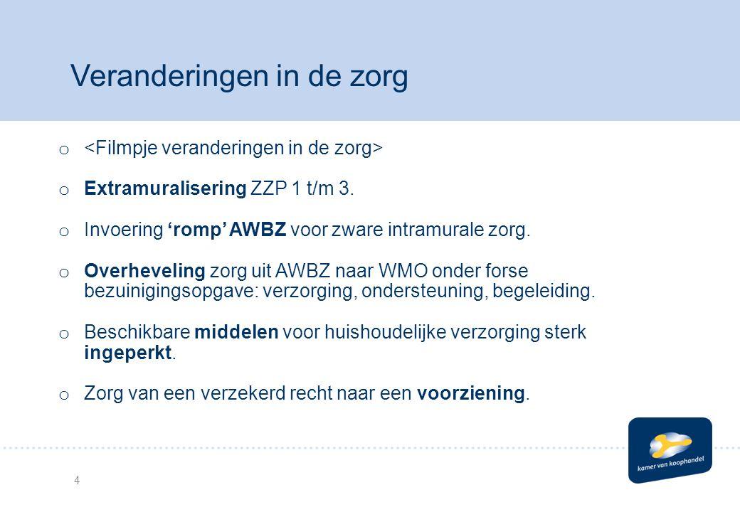 4 Veranderingen in de zorg o o Extramuralisering ZZP 1 t/m 3.