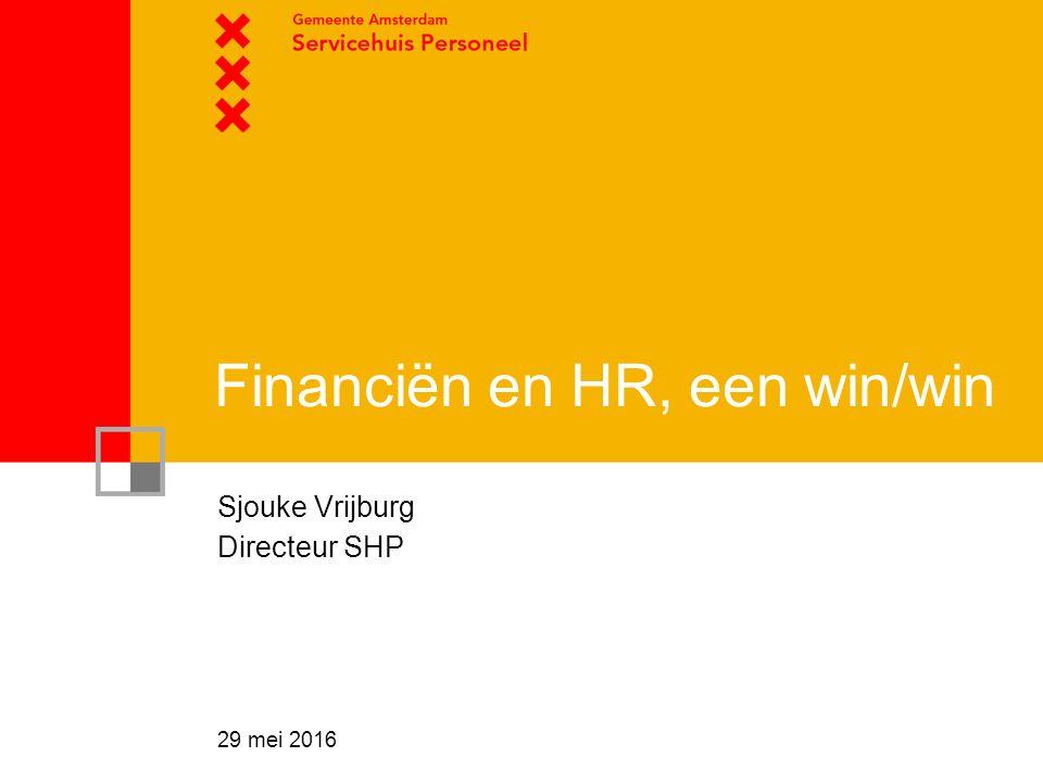 Financiën en HR, een win/win Sjouke Vrijburg Directeur SHP 29 mei 2016