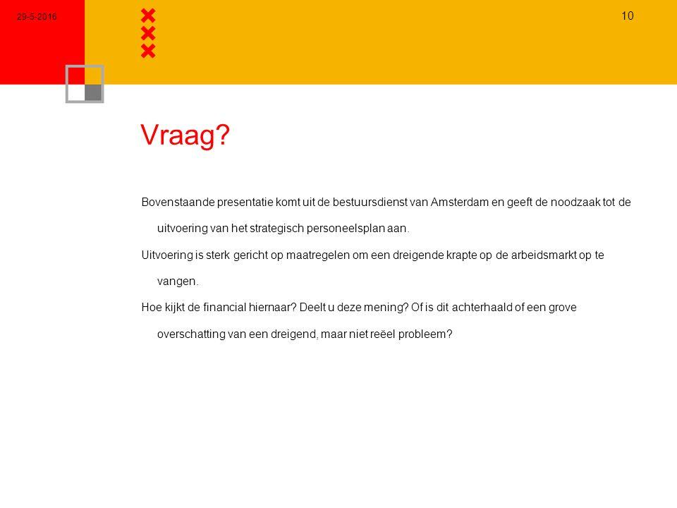 Vraag? Bovenstaande presentatie komt uit de bestuursdienst van Amsterdam en geeft de noodzaak tot de uitvoering van het strategisch personeelsplan aan
