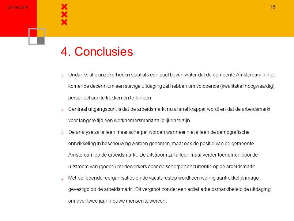 4. Conclusies n Ondanks alle onzekerheden staat als een paal boven water dat de gemeente Amsterdam in het komende decennium een stevige uitdaging zal