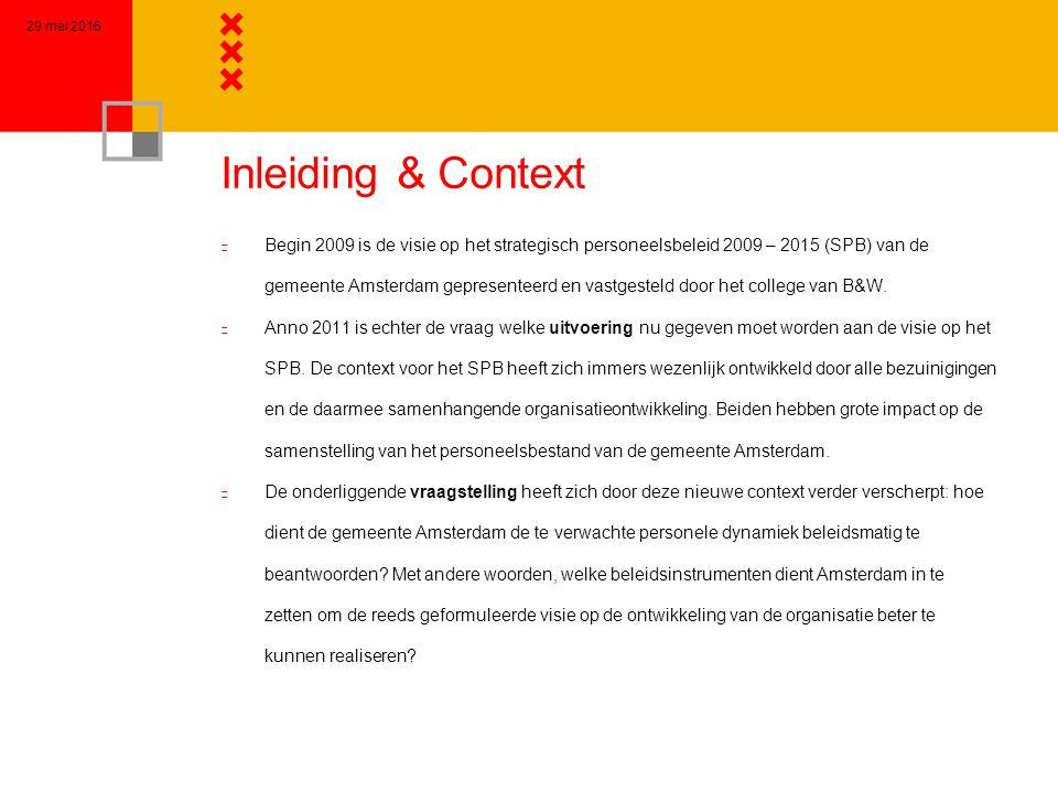Inleiding & Context n Begin 2009 is de visie op het strategisch personeelsbeleid 2009 – 2015 (SPB) van de gemeente Amsterdam gepresenteerd en vastgesteld door het college van B&W.