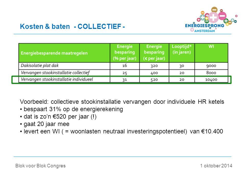Kosten & baten - COLLECTIEF - Voorbeeld: collectieve stookinstallatie vervangen door individuele HR ketels bespaart 31% op de energierekening dat is zo'n €520 per jaar (!) gaat 20 jaar mee levert een WI ( = woonlasten neutraal investeringspotentieel) van €10.400 Blok voor Blok Congres 1 oktober 2014