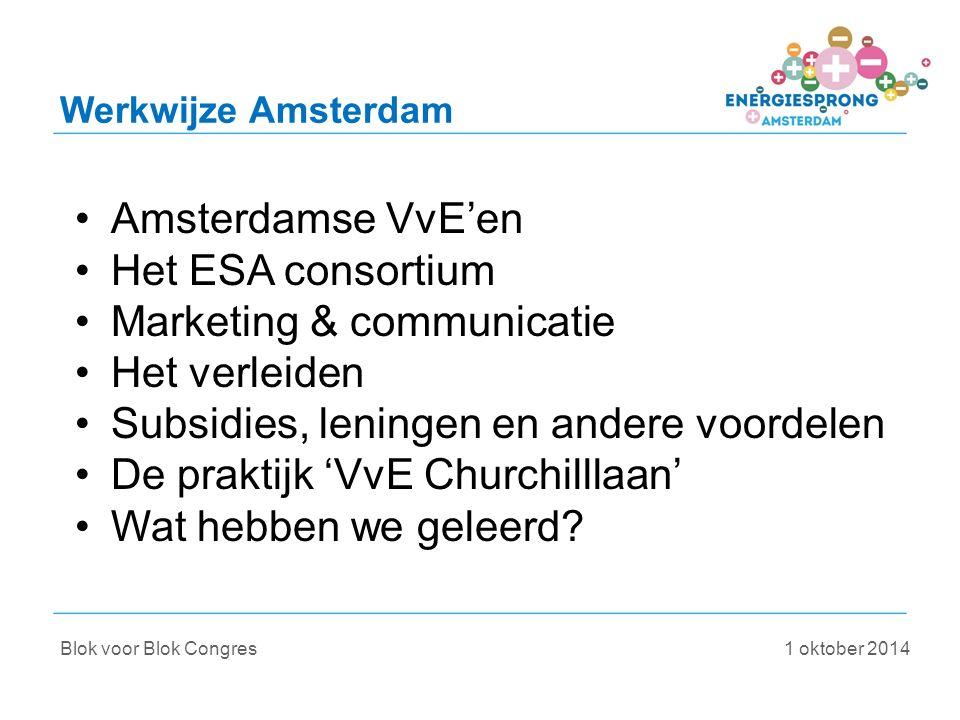 Blok voor Blok Congres 1 oktober 2014 Werkwijze Amsterdam Amsterdamse VvE'en Het ESA consortium Marketing & communicatie Het verleiden Subsidies, leningen en andere voordelen De praktijk 'VvE Churchilllaan' Wat hebben we geleerd