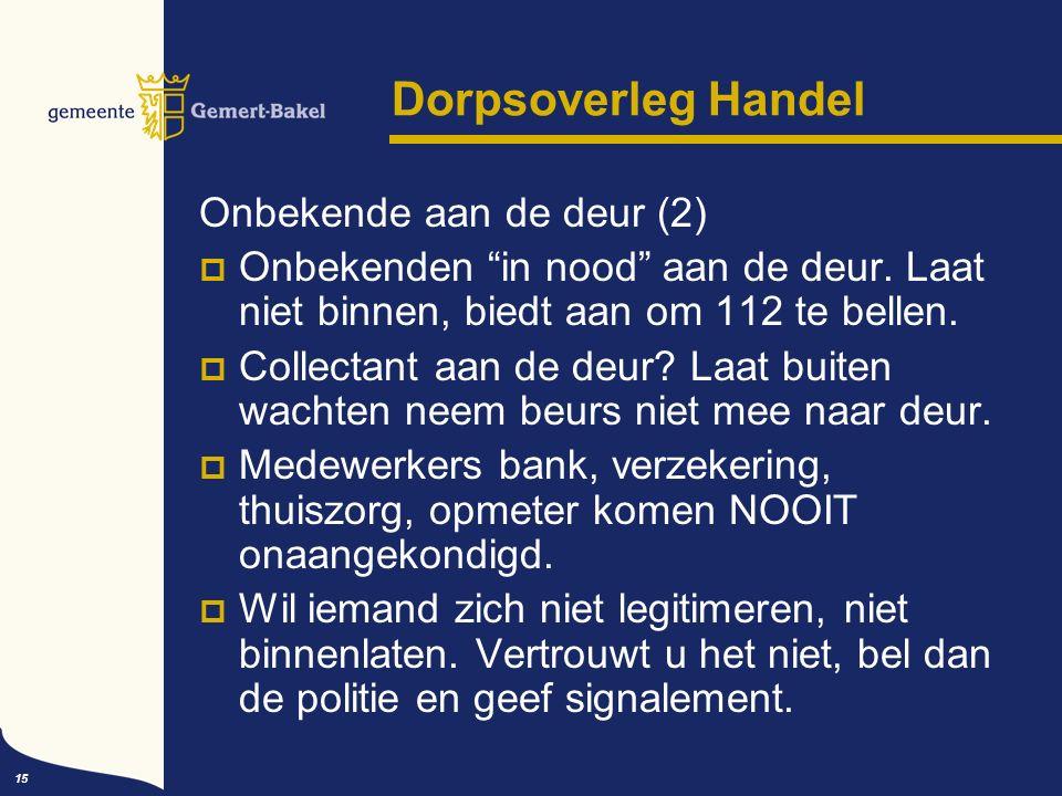 15 Dorpsoverleg Handel Onbekende aan de deur (2)  Onbekenden in nood aan de deur.
