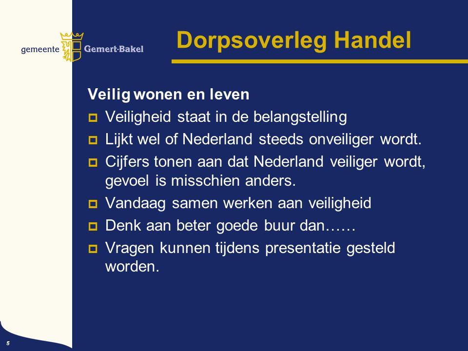5 Dorpsoverleg Handel Veilig wonen en leven  Veiligheid staat in de belangstelling  Lijkt wel of Nederland steeds onveiliger wordt.