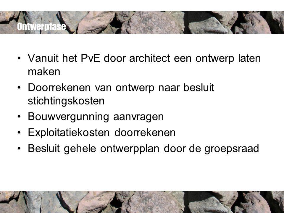 Ontwerpfase Vanuit het PvE door architect een ontwerp laten maken Doorrekenen van ontwerp naar besluit stichtingskosten Bouwvergunning aanvragen Explo