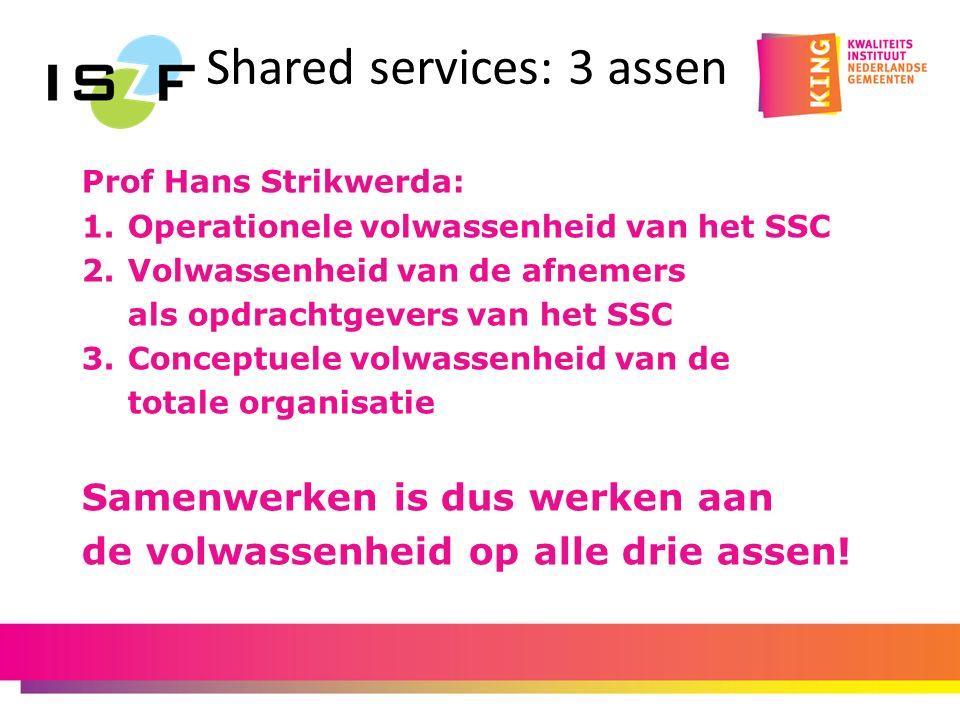 Shared services: 3 assen Prof Hans Strikwerda: 1.Operationele volwassenheid van het SSC 2.Volwassenheid van de afnemers als opdrachtgevers van het SSC 3.Conceptuele volwassenheid van de totale organisatie Samenwerken is dus werken aan de volwassenheid op alle drie assen!