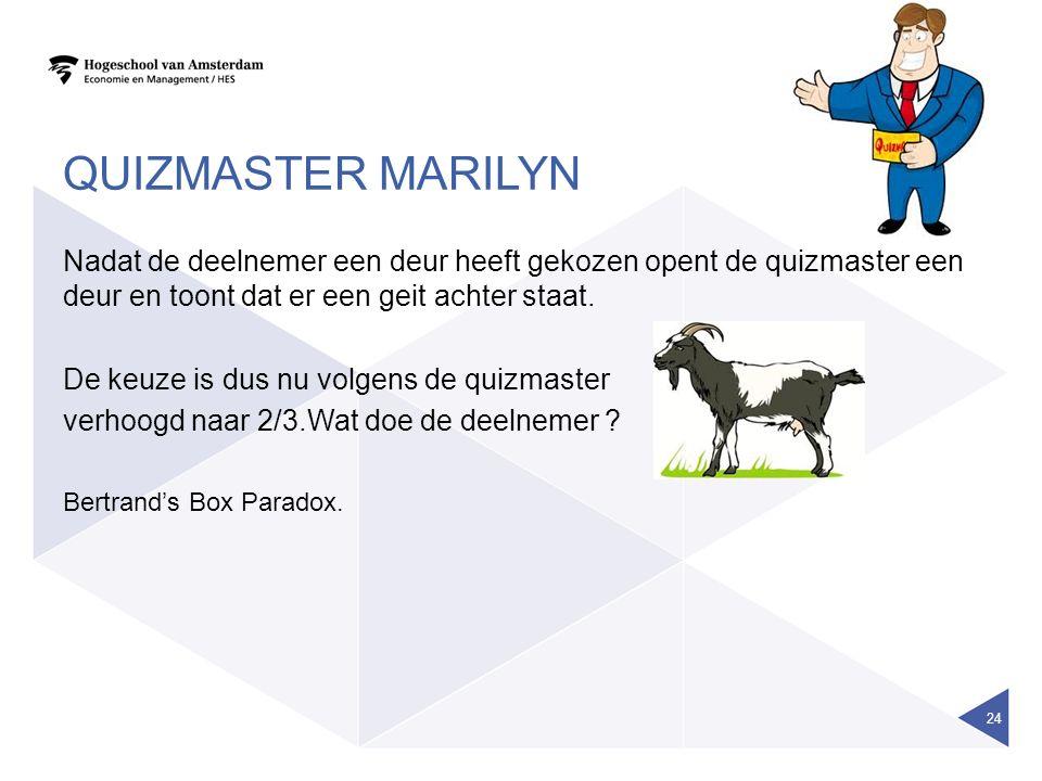 QUIZMASTER MARILYN Nadat de deelnemer een deur heeft gekozen opent de quizmaster een deur en toont dat er een geit achter staat.