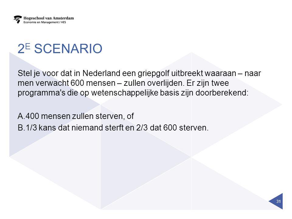 2 E SCENARIO Stel je voor dat in Nederland een griepgolf uitbreekt waaraan – naar men verwacht 600 mensen – zullen overlijden. Er zijn twee programma'